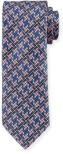 BrioniBrioni Plaid Diamond-Puzzle Silk Tie, Pink/Navy