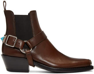 Calvin Klein Brown Western Harness Boots