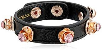 Betsey Johnson GBG) Stone Rose Leather Snap Bracelet