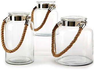 One Kings Lane Asst. of 3 Natalia Rope Lanterns - Clear/Nickel