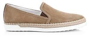 Tod's Women's Raffia & Suede Slip-On Sneakers