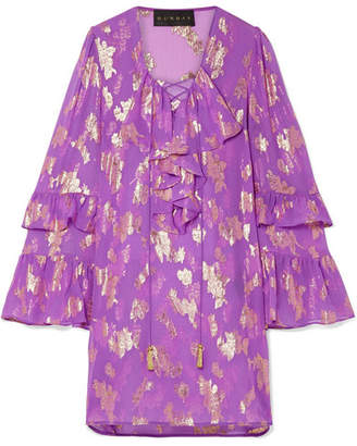 Dundas Lace-up Metallic Fil Coupé Silk-blend Chiffon Mini Dress