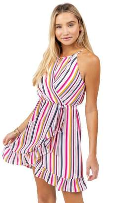 francesca's Ballie Stripe High Neck Ruffle Dress - Multi