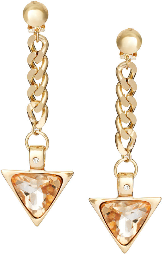 Asos Clip On Earrings with Chain and Triangle Drop