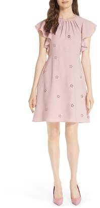 Kate Spade eyelet detail ruffle sleeve crepe dress