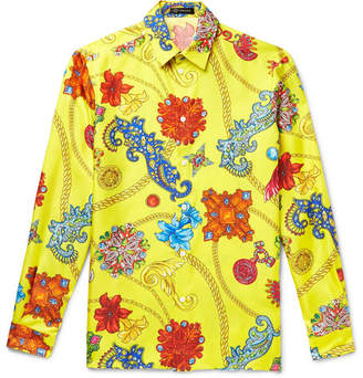 Versace Printed Silk-twill Shirt - Yellow