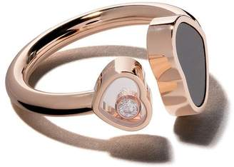 Chopard 18kt rose gold Happy Hearts onyx and diamond ring