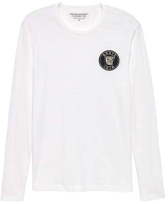Banana Republic Vintage 100% Cotton Long-Sleeve Patch T-Shirt