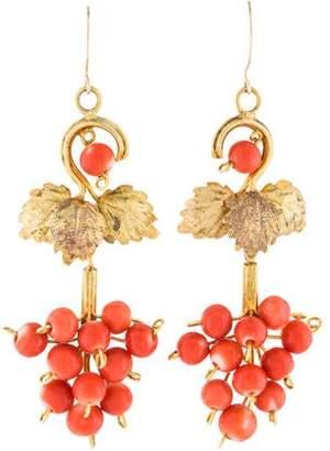 Coral Antique Drop Earrings