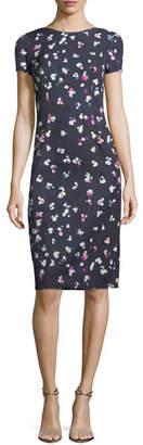 Carolina Herrera High-Neck Cap-Sleeve Sheath Printed Dress