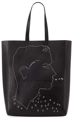 Calvin Klein Men's x Andy Warhol Blotted Lines Leather Tote Bag