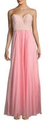 La Femme Embellished Sweetheart Floor-Length Gown