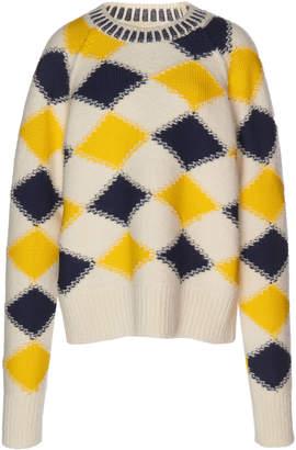 Maison Margiela Argyle Waffle-Knit Sweater