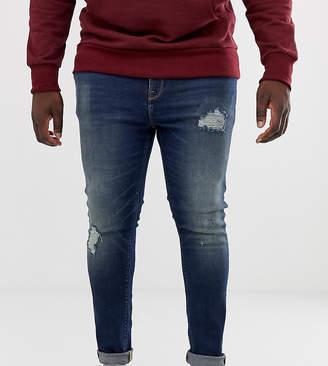 Asos Design DESIGN Plus super skinny distressed jeans in dark wash blue