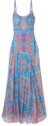 Eywasouls Malibu - Tracy Printed Chiffon Maxi Dress - Blue