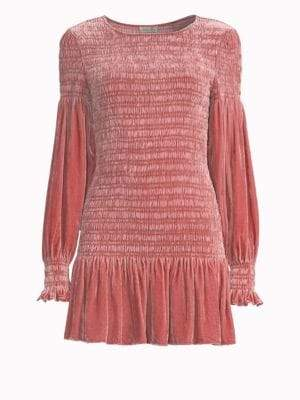LoveShackFancy Scarlett Smocked Stretch Silk Mini Dress