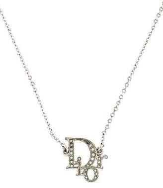 Christian Dior Crystal Oblique Pendant Necklace