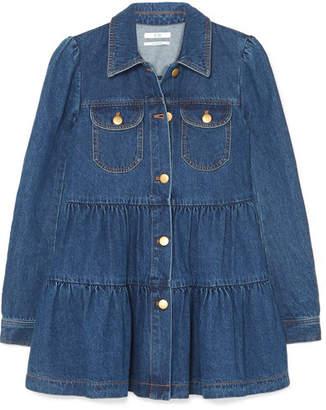 Co Tiered Denim Jacket - Blue