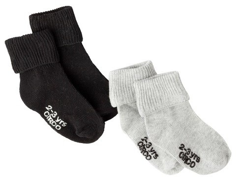 Circo Infant Toddler Boys' 2 Pack Casual Socks - Black/Grey