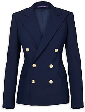 Ralph Lauren Women's Iconic Style Camden Double-Breasted Wool Jacket - Size 0
