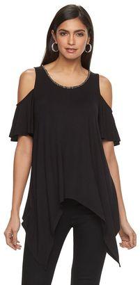Women's Jennifer Lopez Embellished Cold-Shoulder Tee $44 thestylecure.com