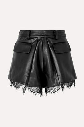 Self-Portrait Lace-trimmed Faux Leather Shorts - Black