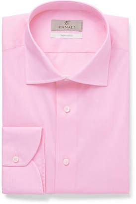 Canali Light-pink Slim-fit Cotton-poplin Shirt - Pink