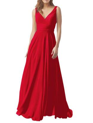 98cf193e19b XJLY Women s A Line V Neck Chiffon Bridesmaid Dresses Evening Dress Party  Dress