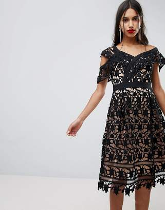 Adelyn Rae Whitney One Shoulder Lace Dress