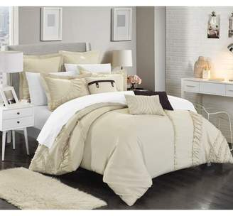 BEIGE Chic Home 12-Piece Dearly NEW FAUX LINEN FABRIC COLLECTION OVERSIZED AND OVERFILLED embroidered GEOMETRIC pleated ruffled color block Queen Bed In a Bag Comforter Set With White Sheets included