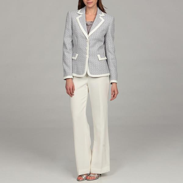 Tahari Women's Tweed-framed Pant Suit