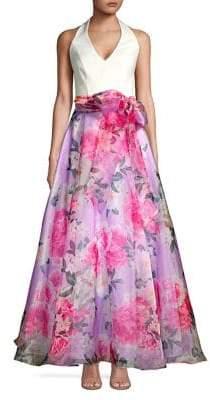 Eliza J Floral Self-Tie Gown