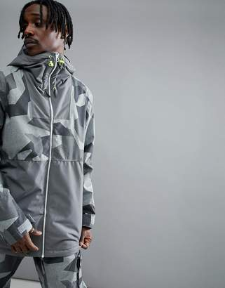 Wear Colour Block Snow Jacket In Grey Camo