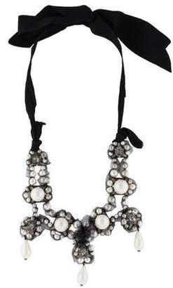 Lanvin Faux Pearl & Crystal Collar Necklace
