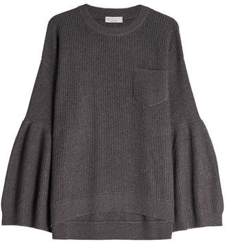 Brunello Cucinelli Ribbed Cashmere Pullover with Voluminous Sleeves