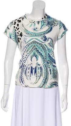 Just Cavalli Short Sleeve Abstract Print Top