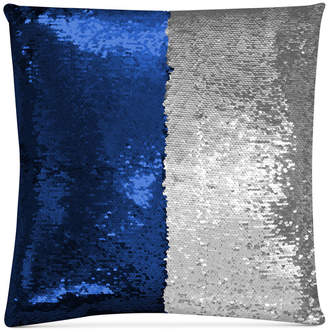 """Hallmart Collectibles Mermaid Colorblocked Royal Blue & Silver Sequin 18"""" Square Decorative Pillow"""