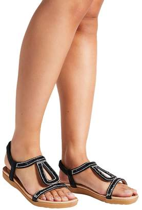 3e3251f2e9a at Debenhams · Quiz Black Diamante Flat Sandals
