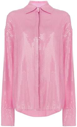 MSGM oversized sequinned shirt