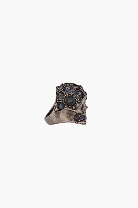 Alexander McQueen silver Night Crystal-Embellished Glory Skull ring