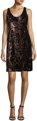 Milly Cora Sleeveless Sequined Velvet Cocktail Minidress