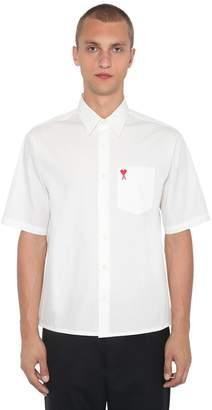 Ami Alexandre Mattiussi Logo Woven Cotton Poplin Shirt