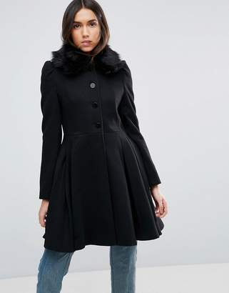 Asos Design Swing Coat with Faux Fur Collar