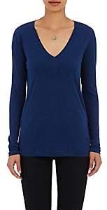 Barneys New York WOMEN'S V-NECK LONG-SLEEVE T-SHIRT - BLUE SIZE XS