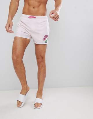 Asos DESIGN Swim Shorts In Purple With Dinosaur Embroidery In Mid Length
