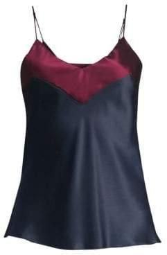 Ginia Contrast Silk V-Neck Camisole