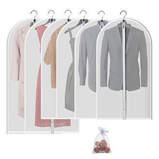 Moth Allhom Hanging garment bag for storage - Travel Suit bag Sturdy zipper proof Clothing bag pack of 6 with cedar ball in 4 Medium and 2 Large
