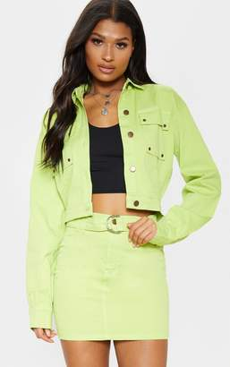 PrettyLittleThing Neon Lime Oversized Cropped Denim Trucker