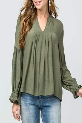 Entro Pleated V-Neck Top