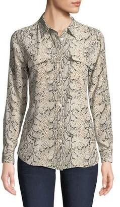 ae489722b23b5 Equipment Slim Signature Python-Print Silk Button-Front Blouse